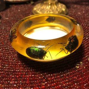 Vintage Lucite Beetle Bug Bangle Bracelet